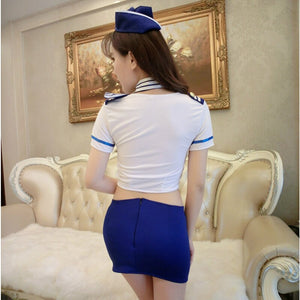 Airline Stewardess Uniform With Hat Porn Women Sexy Lingerie Hot Cosplay Erotic Costumes Role Play Babydoll Air Hostess Set 48