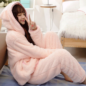 2018 Winter Warm Women Pajamas Fluffy Fleece Onesie Pyjamas Pink Female Sleepwear Hooded Pajama Set Women Home Suit 50