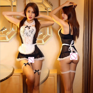 Maid Uniform Costumes Role Play Women Sexy Lingerie Hot Sexy Underwear Lovely Female White Lace Erotic Costume Babydoll Chemise