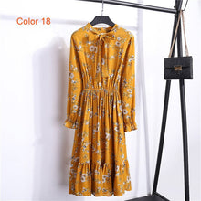 Load image into Gallery viewer, Ladies Chiffon Party Dress Bow Women Full Sleeve White Flower Print Floral High Elastic Waist Bohemian Dress Female Vestido