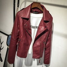 Load image into Gallery viewer, Women Faux Leather Jackets Red 2019 Autumn Slim Cool Lady Basic Jacket Coats Sweet Female Zipper Jacket Coat Outwear Plus Size