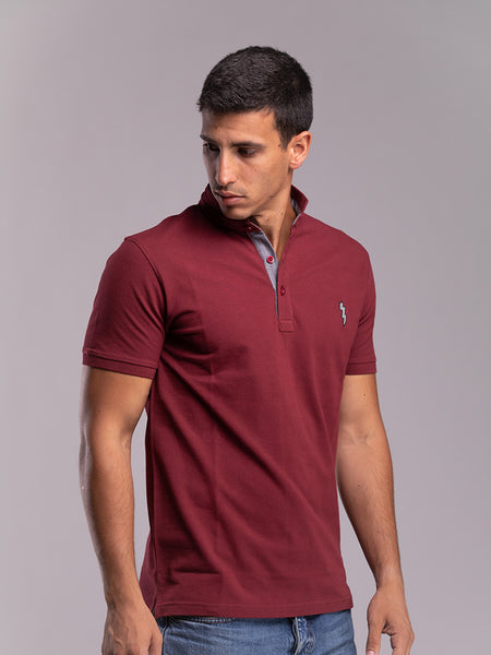 Burgundy-Polo-Shirt-with-Collar-detail
