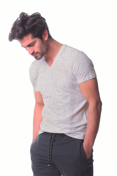 Light Gray V-neck Basic T-shirt