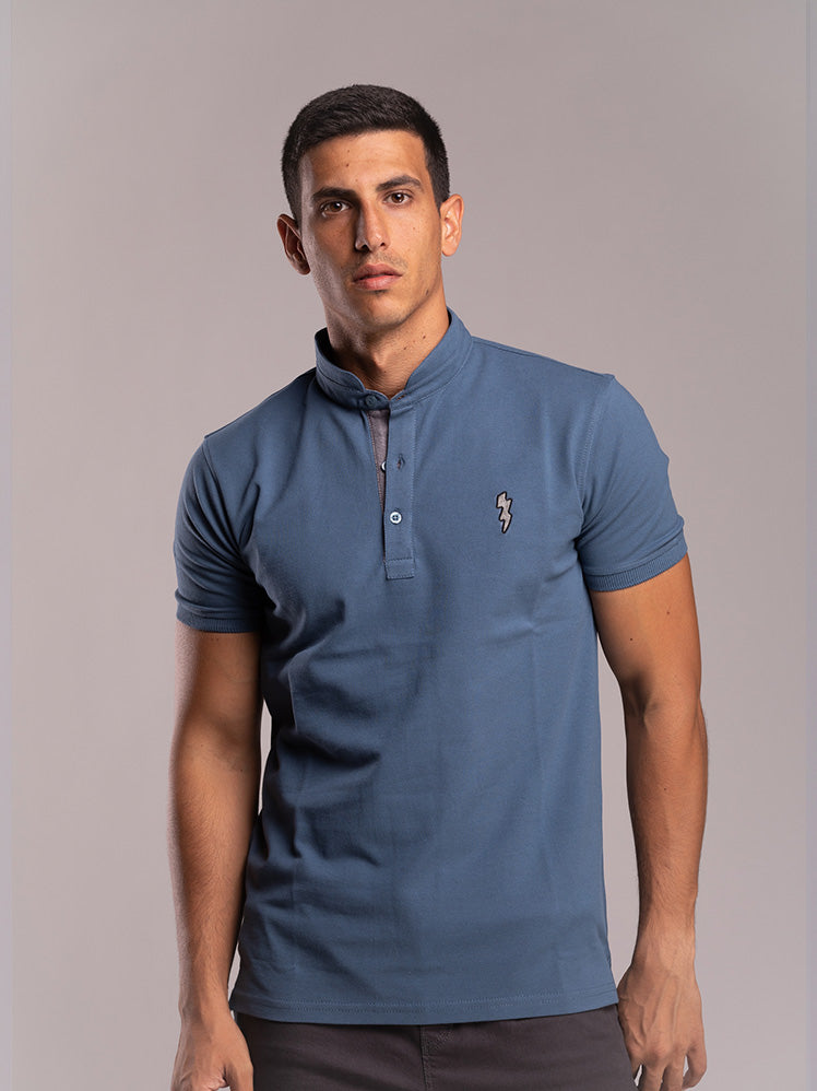 Petroleum-Polo-Shirt With Coller-Detail