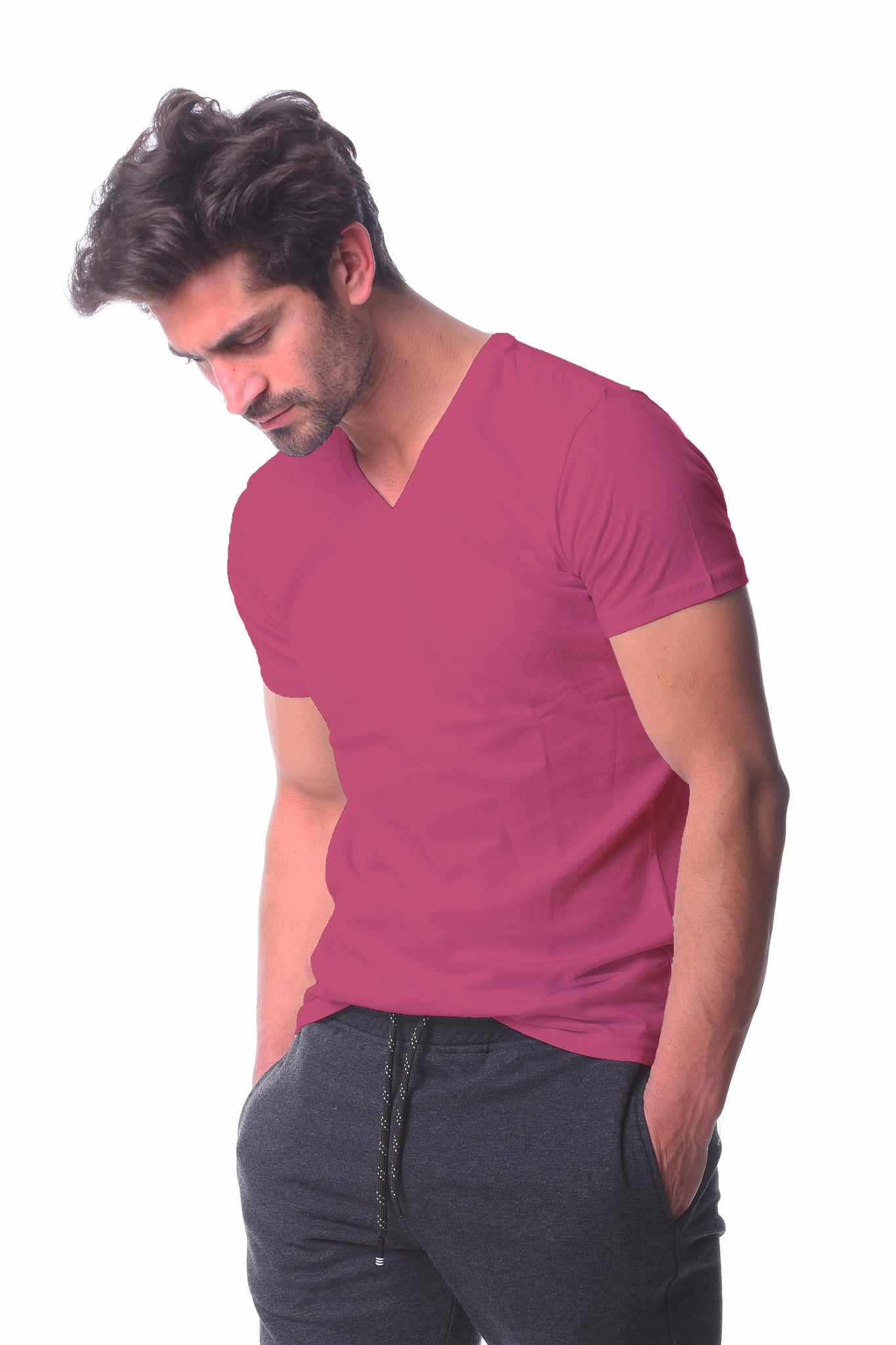 Purple V-neck Basic T-shirt