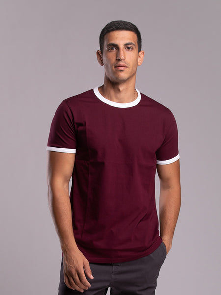 White-outlined burgundy tshirt