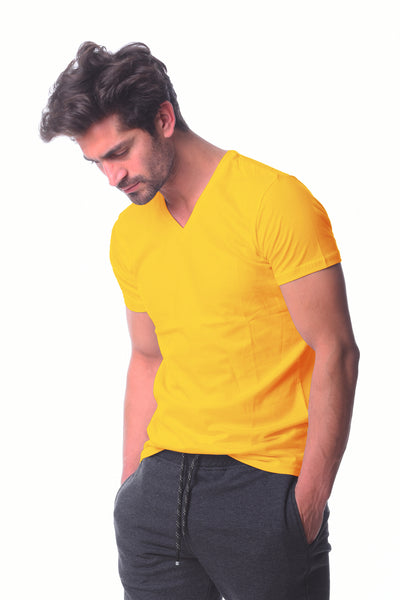 Yellow V-neck Basic T-shirt