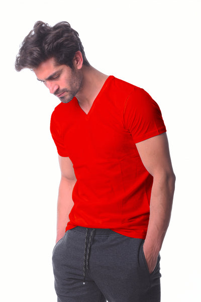 Red V-neck Basic T-shirt