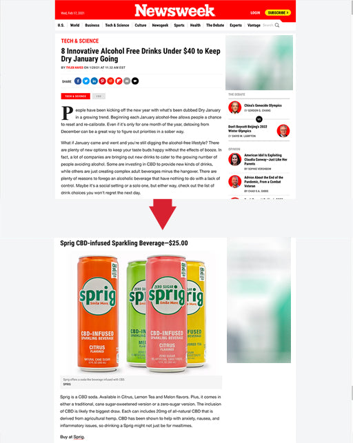 Sprig CBD Featured on Newsweek - Keep Dry January Going