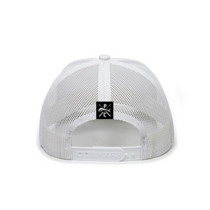 Pelagic White Premium Low Trucker Hat back.