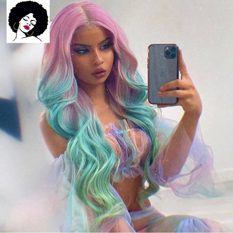 Marina: 20-28'' Synthetic Hair - 180% Density, Heat Resistant Fibre, Glueless LACE FRONT WIG