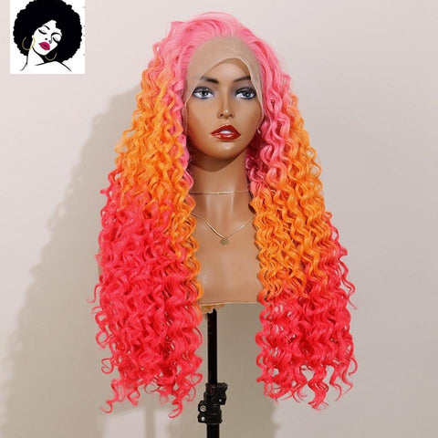 Gail: 20-26'' Synthetic Hair - Curly, Heat Resistant LACE FRONT WIG