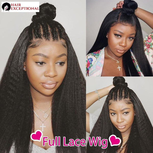 Asia: 10-26'' Indian Hair - Kinky/Crimped, Pre Plucked LACE FRONT WIG