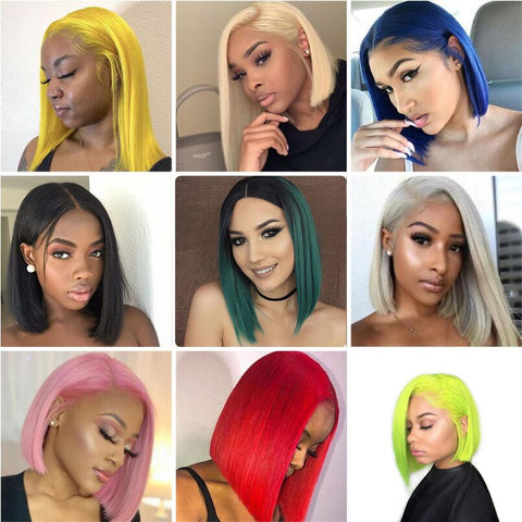 Diamond: 10-16'' Synthetic Hair - Straight Bob, 13x4 LACE FRONT WIG