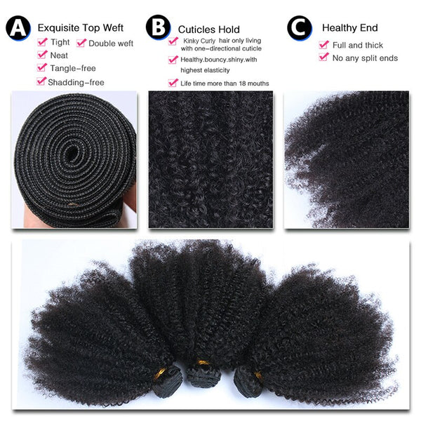 8-28'' VIRGIN Mongolian BUNDLES, Kinky 4B 4C Curly (With 4x4 Closure Option Available)