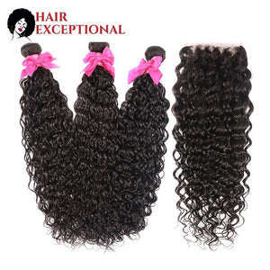 Mercina: 12-28'' Brazilian Virgin Hair - Water Wave, LACE FRONT WITH 3 BUNDLES