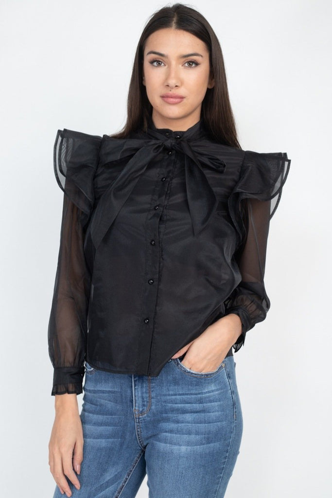 Blouse a volants et noeud papillon 53423. Disponible sur RACKI.FR, FRANCE.
