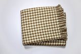 "354 - Houndstooth Fringed Throw Plush Throw - 55"" x 70"""