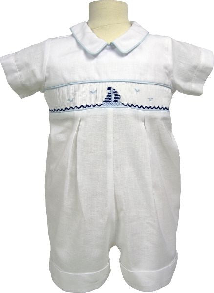 096 - White Smocked Short All With Sailboat Detail