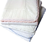 "1326 - Cotton Jersey Baby Blanket with Knitted Color-Tipped Pointelle Border - 45""x45"""