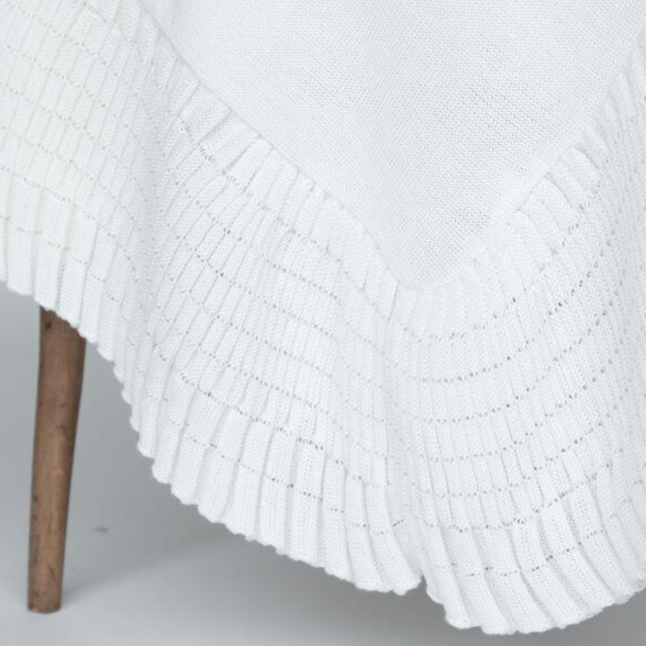 1327 - Cotton Jersey Blanket w/ Knitted Pleated Pointelle Ruffle Edge