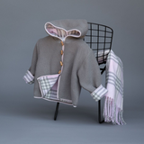 "Adorable seedstich jacket complimented by a classic plaid lining will keep your child warm in style! Suggested accessories: Our matching ""401 plaid"" baby blanket! Located in our ""Cotton Classics"" section! 100% Cotton Machine Washable by A Soft idea"