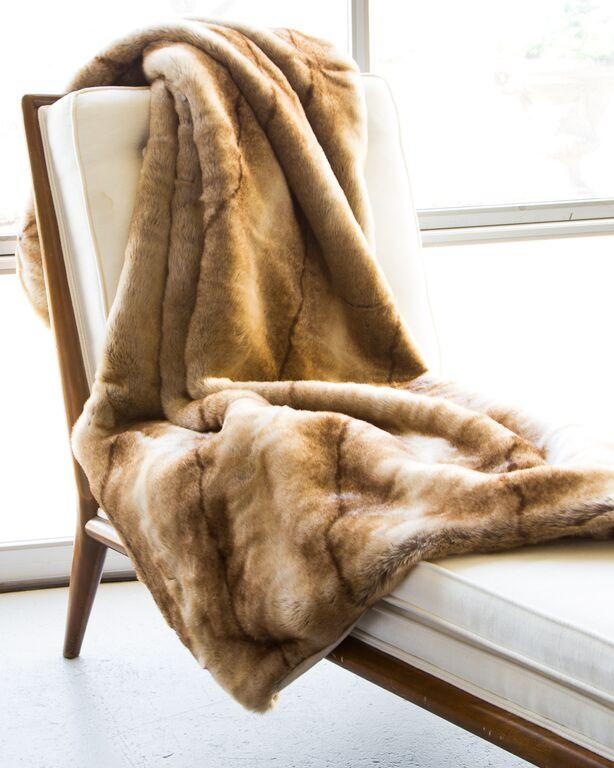 "3328 - Coyote Faux Fur Blanket - 50"" x 70"""