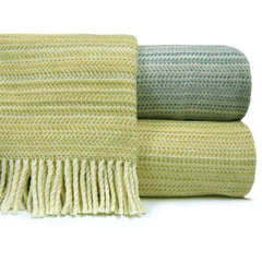 "347 - Plush Horizontal Herringbone Fringed Throw - 55"" x 70"""