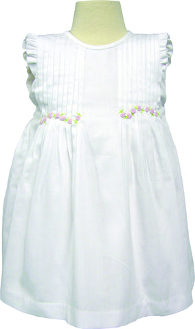 6920 - Pin Tucked White Dress with Rosette