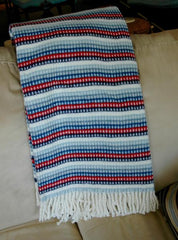 315 - Plush Cotton Blend Fringed Stripe Throw