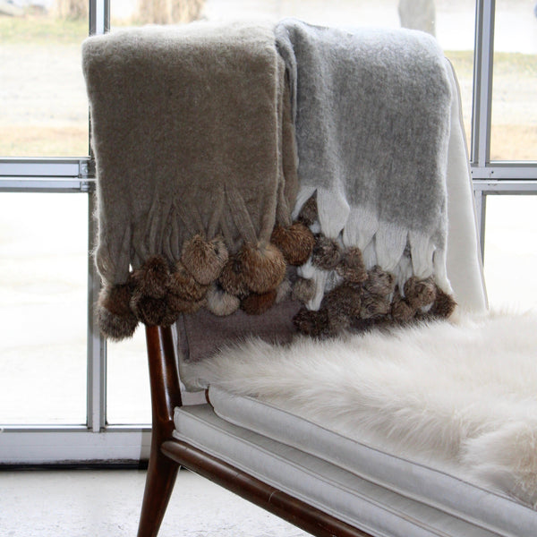 "Wool Blend Mohair Trimmed with Rabbit Fur Pom Poms - 50"" x 60"""