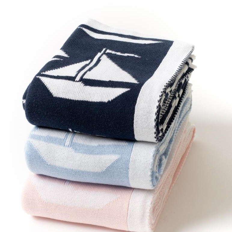 "Want to add a nautical touch to your baby's life? The Sailboats Blanket is the perfect place to start! Super soft and sure to keep your baby swaddled and warmSailboats Blanket - 28""x36"" by a soft idea"