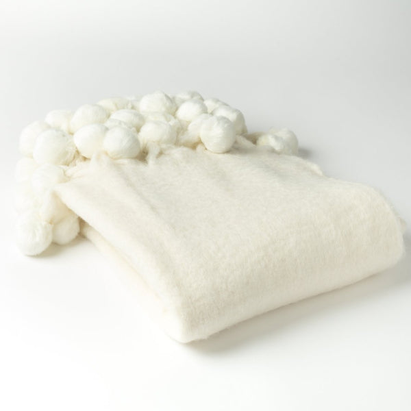 "7035 - Wool Blend Mohair Trimmed with Faux Fur Pom Poms - 50"" x 60"""