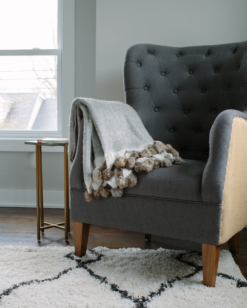 "7032 - Wool Blend Mohair Trimmed with Rabbit Fur Pom Poms - 50"" x 60"""