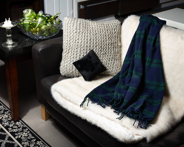 403 - Fringed Black Watch Plaid Throw