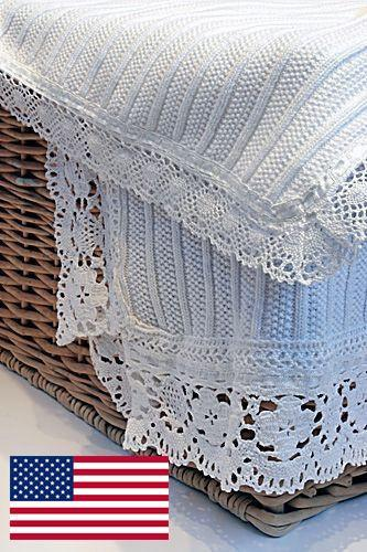 "6012/6022 - Storybrook Seedstitch Rib Blanket w/Lace Trim - 36""x46"""