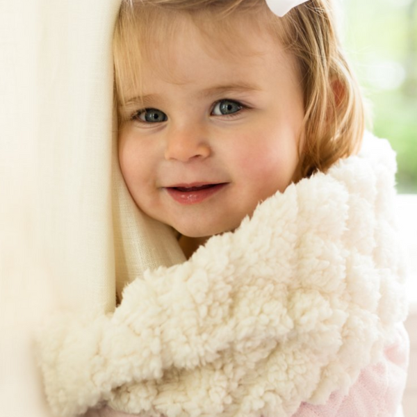 "This blanket will provide a plush feeling for your baby and keep them warm and cozy. These blankets are available in soft colors with reverse texture of the faux sherpa. Personalize this with a monogram!  •30""x40""  •100% Microfiber Polyester  •Machine Washable  •Made in China  •Monogramable"