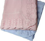 "1333 - Cotton Jersey Baby Blanket w Knitted Scallop Lace Border - 45""x45"""