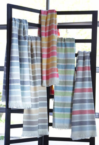 "359 - Unbrushed Horizontal Multicolor Stripe Throw - 55"" x 70"""