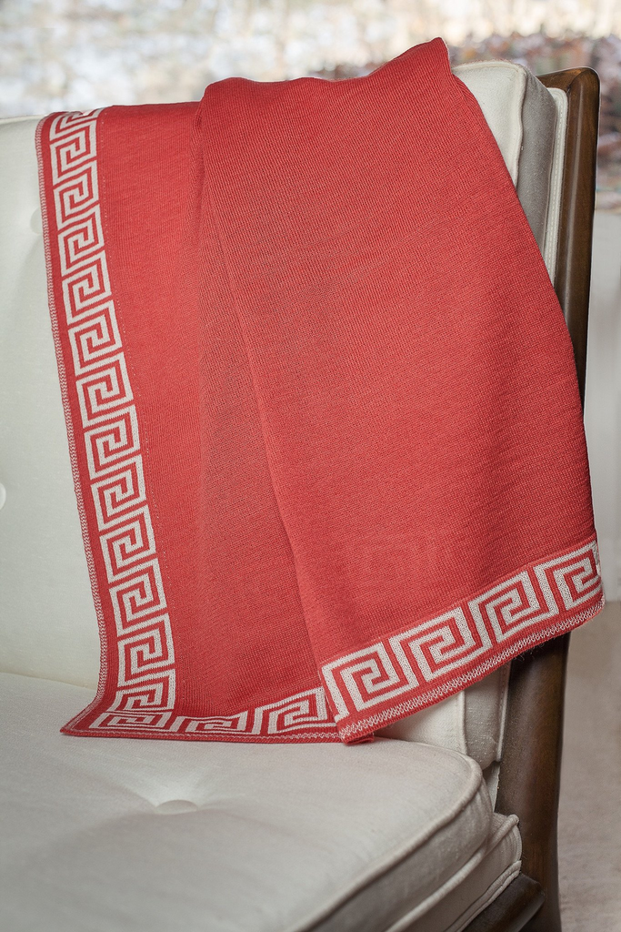 "2127 - Jersey Knit Throw with Greek key Jacquard Border - 50"" x 60"""