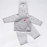 1524-Striped Sleeve Zip-Back Hoodie/Pant Set NEW!