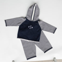 1524-Striped Sleeve Zip-Back Hoodie/Pant Set (available September 1-2017)