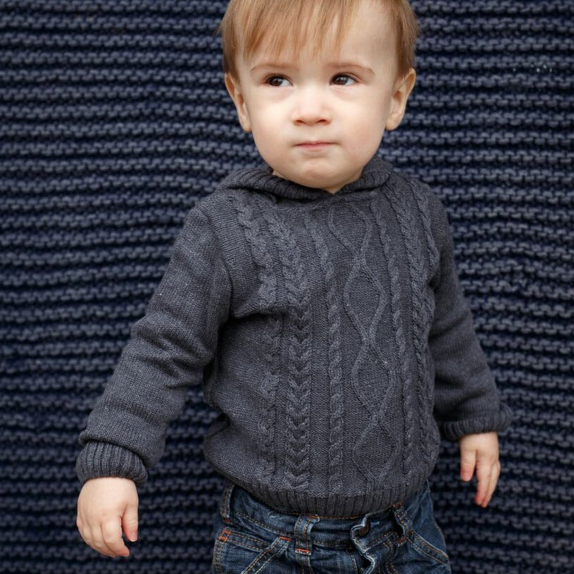 Classic cable knit sweater for baby with convenient zip back and hoodie  100% Cotton  Machine Washable by a soft idea