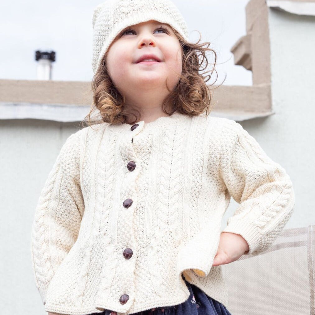 1556 - Girl's Classic Aran Knit Button Front Cardigan