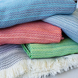 "348 - Unbrushed Horizontal Herringbone Fringed Throw 55""x70"""