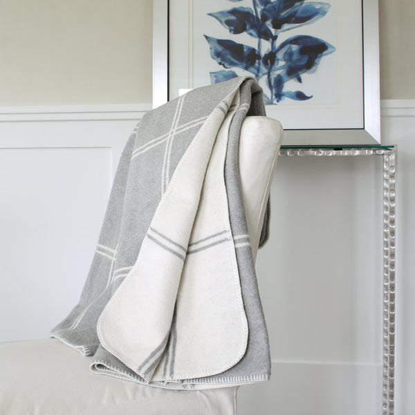 "523 - Double Face Windowpane blanket with Stitched Edge 59"" x 79"""