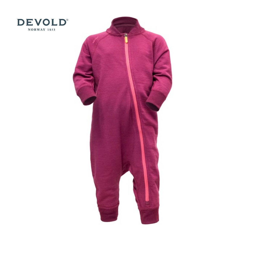 DEVOLD Nibba Baby 100% NZ Merino Wool Playsuit, Plum