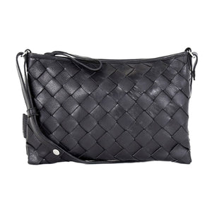 LUMI Trine Woven Leather Bag Large, Black