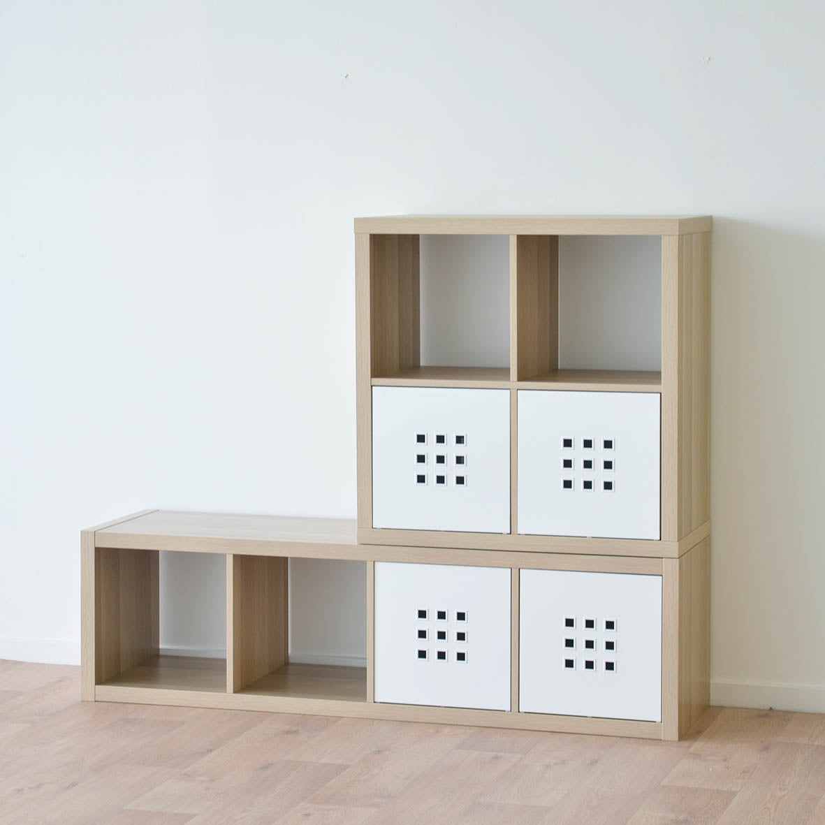 IKEA Kallax 1x4 Shelving unit, 42x147cm, White Stained Oak