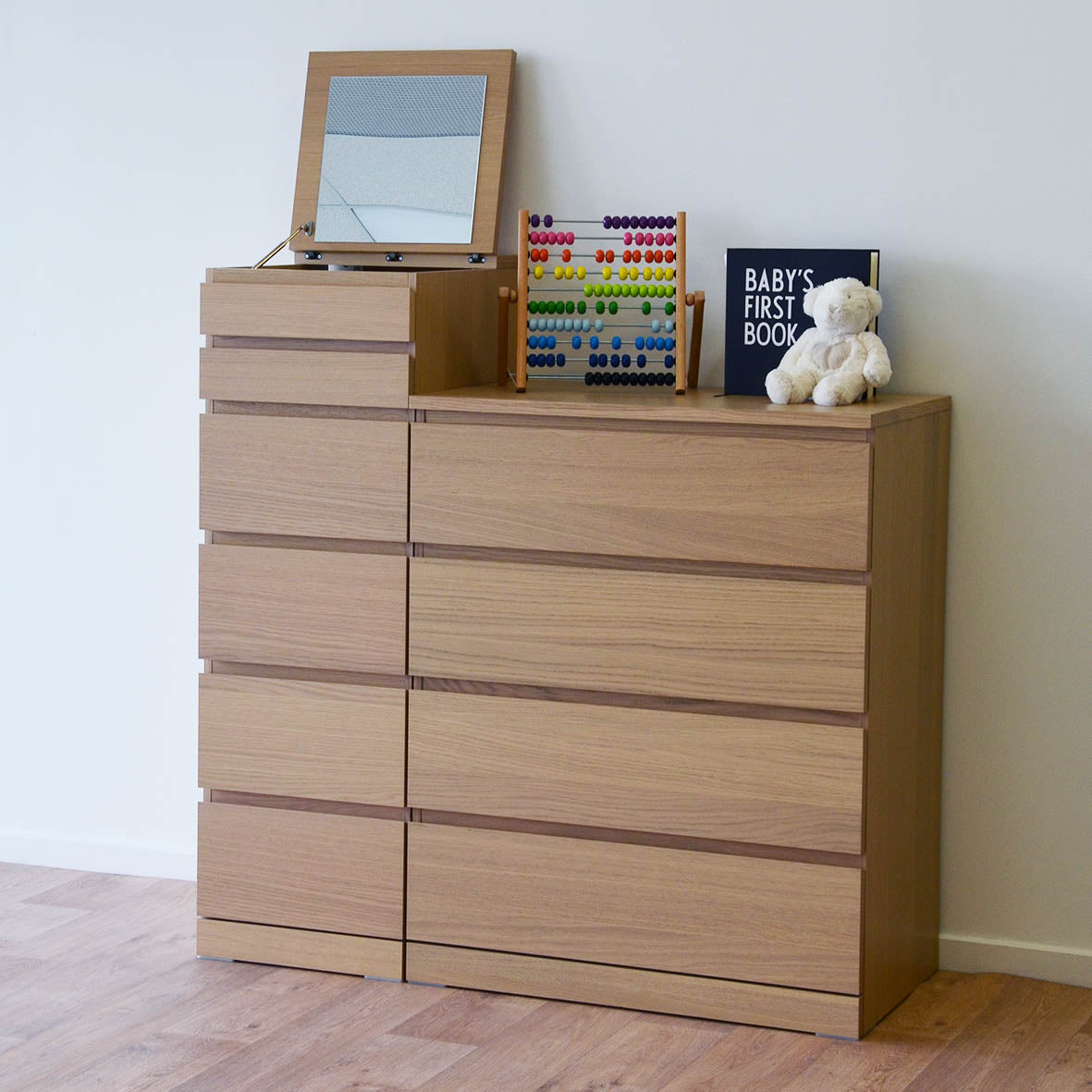 IKEA Malm 4-drawer Chest, 80x48x100cm, White-stained Oak